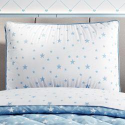 Capa de Travesseiro Infantil Estrelinha Branco e Azul