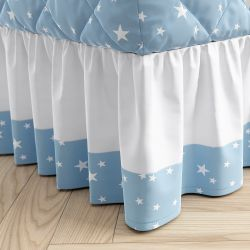 Saia para Cama Infantil Solteiro Estrelinha Azul