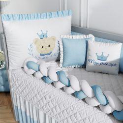 Kit Berço Trança Príncipe Ursinho Azul