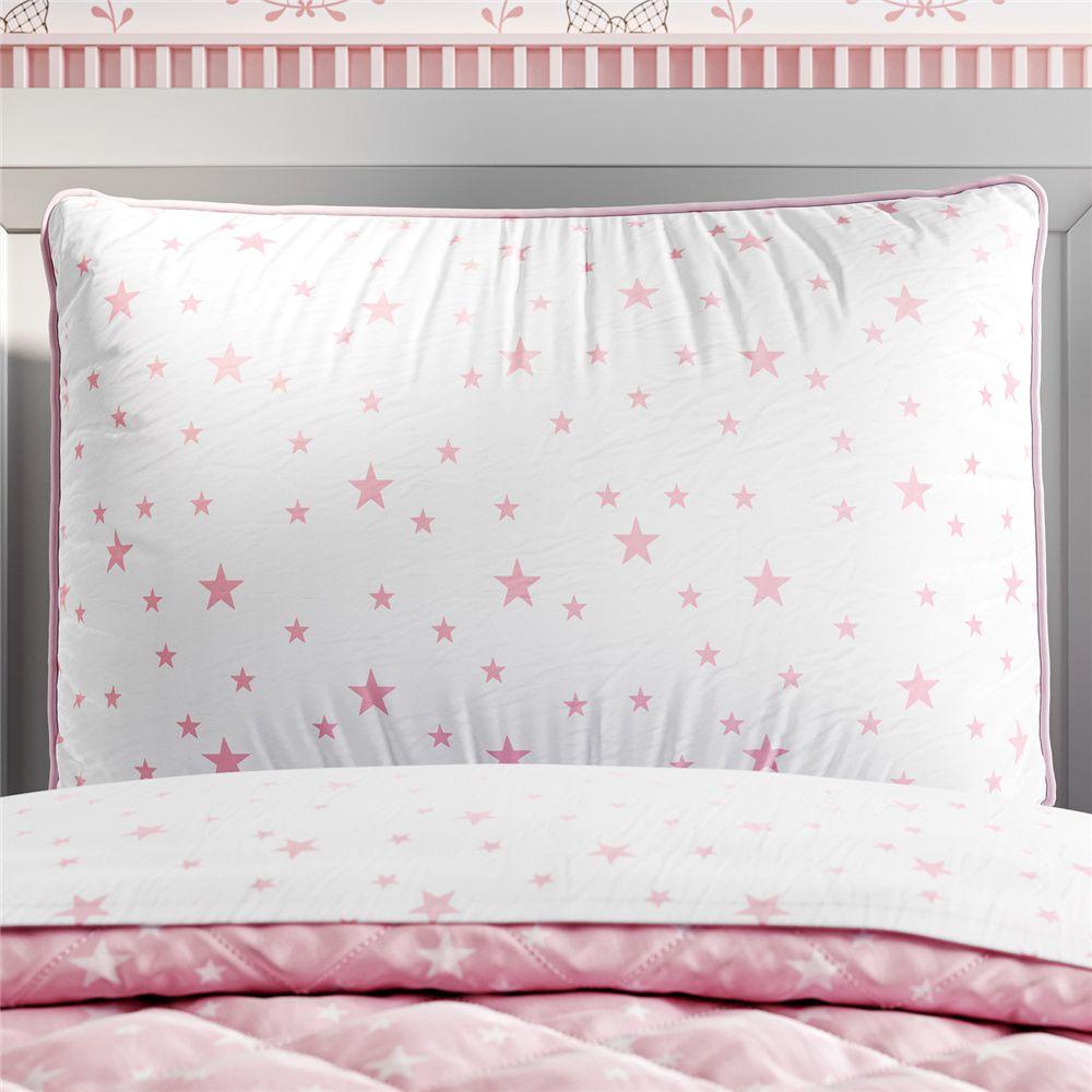 Capa Travesseiro Infantil Branco/Rosa Estrelas Grão de Gente