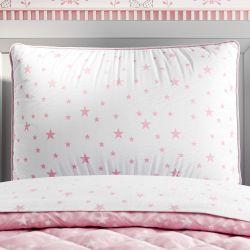 Capa de Travesseiro Infantil Estrelinha Branco e Rosa