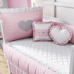Kit Berço Coração Rosa