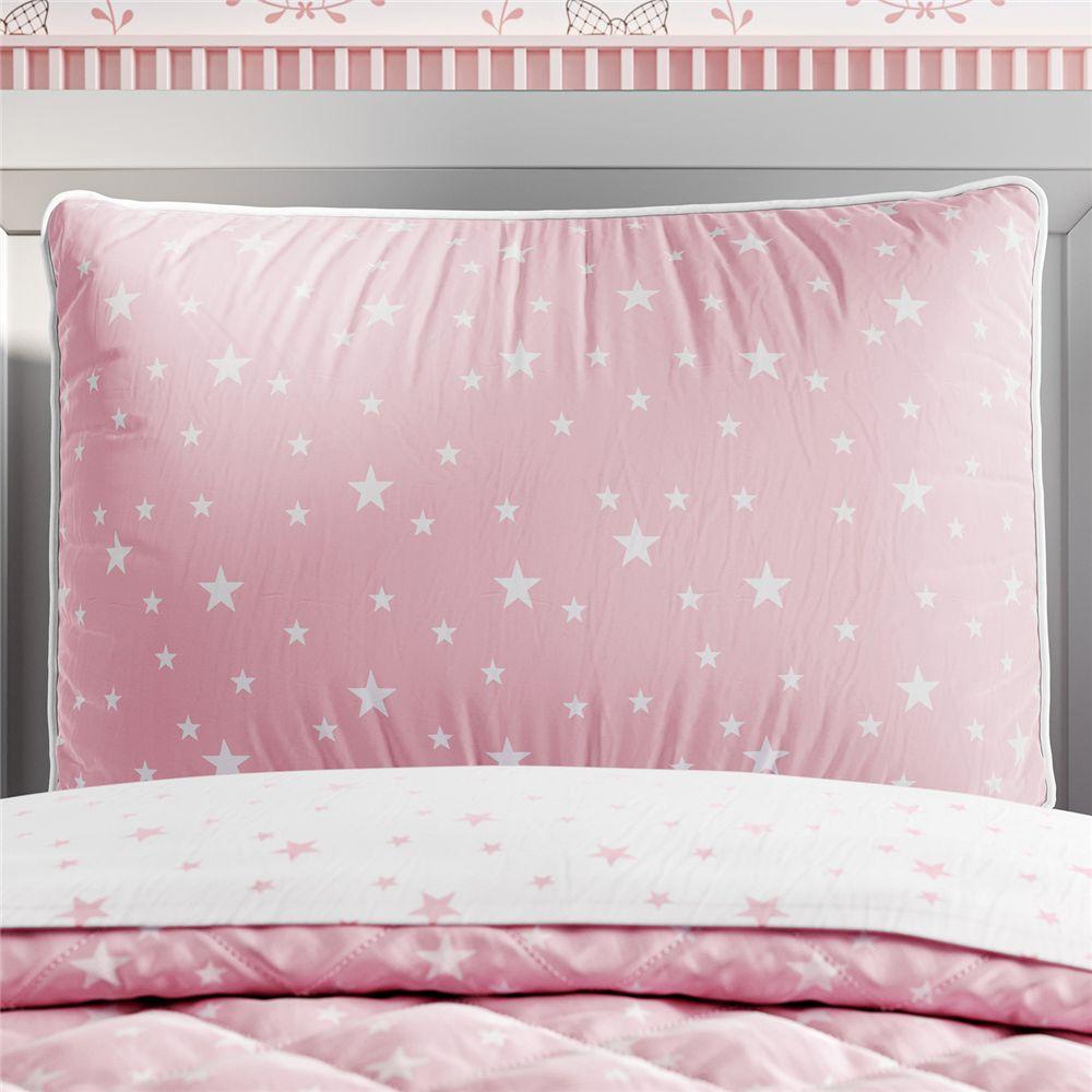 Capa Travesseiro Infantil Rosa/Branco Estrelas Grão de Gente