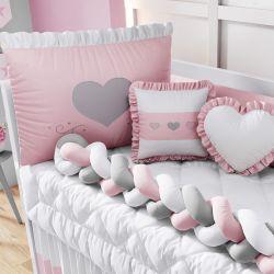 Kit Berço Trança Coração Rosa