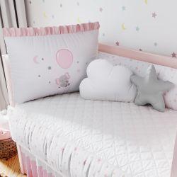 Kit Berço Sonhe Alto Elefantinha Rosa