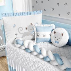 Kit Berço Trança Gatinho Azul