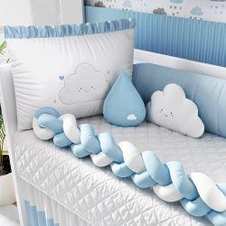 Kit Berço Trança Nuvem de Amor Azul