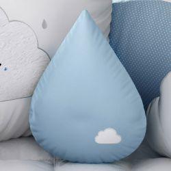 Almofada Gota Azul com Nuvem Bordada