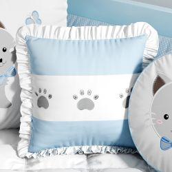 Almofada Decorativa Patinhas Gatinho Azul com Bordado