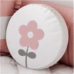 Almofada Redonda Flor Bolinha Poá Rosa 35cm