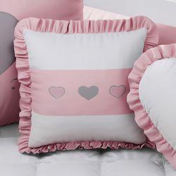 Almofada Quadrada Coração Rosa e Branco 38cm