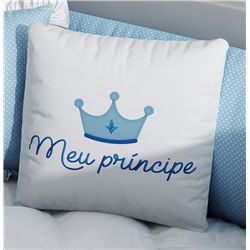 Almofada Quadrada Meu Príncipe Azul Bordado Coroa