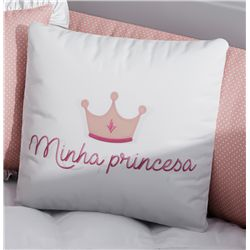 Almofada Quadrada Minha Princesa Rosa Bordado Coroa