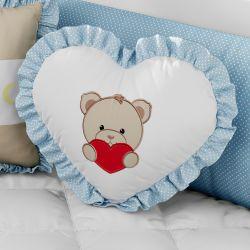 Almofada Ursinho Coração Azul com Bordado