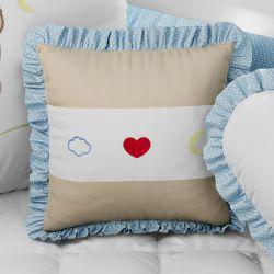 Almofada Quadrada Coração, Nuvem e Lua Azul Bordado