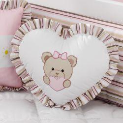 Almofada Ursinha Coração Rosa 33cm