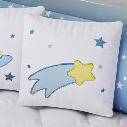 Almofada Quadrada Estrela Cadente Azul e Amarelo Bordado