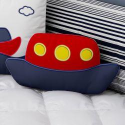 Almofada Barquinho Azul Marinho e Vermelho Bordado