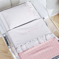 Kit Berço Maternidade Elegância Clássica com Manta Tricot Rosa
