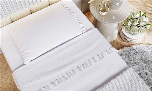 Kit Cama Maternidade Garden Print com Manta Tricot Branco