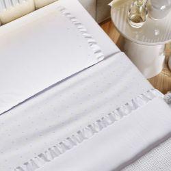 Kit Cama Maternidade Garden Print com Manta Tricot Branco 300 Fios