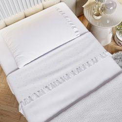 Kit Cama Maternidade Garden Print com Manta Tricot Branco 400 Fios