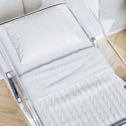 Kit Berço Maternidade Coração com Manta Tricot Branco 300 Fios