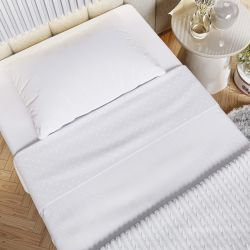 Kit Cama Maternidade Coração com Manta Tricot Branco 400 Fios