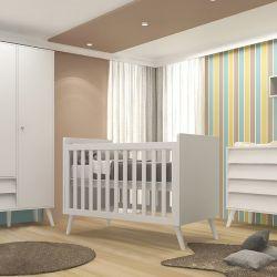 Quarto de Bebê Prime Vintage com Berço/Cômoda/Guarda-Roupa de 3 Portas