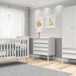 Quarto de Bebê Prime Vintage com Berço/Cômoda/Guarda-Roupa de 2 Portas