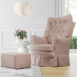 Poltrona Amamentação Balanço e Giratória com Puff Luxo Rosé