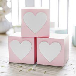Cubo Decorativo Personalizado Coração MDF Rosa