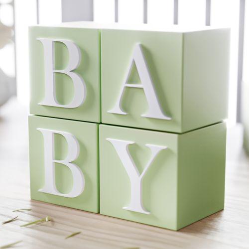 Cubo Decorativo Personalizado Letras do Alfabeto MDF Verde