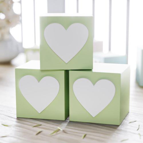 Cubo Decorativo Coração MDF Verde