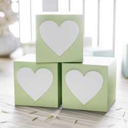 Cubo Decorativo Personalizado Coração MDF Verde