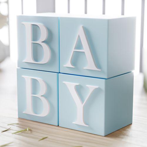 Cubo Decorativo Personalizado Letras do Alfabeto MDF Azul