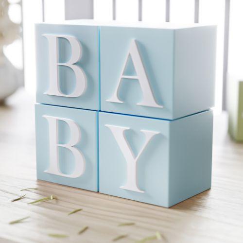 Cubo Decorativo Personalizado Letra J MDF Azul 6cm