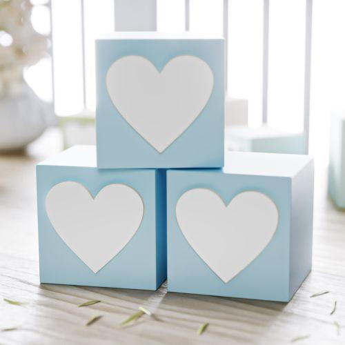 Cubo Decorativo Coração MDF Azul