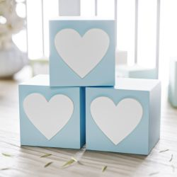 Cubo Decorativo Personalizado Coração MDF Azul