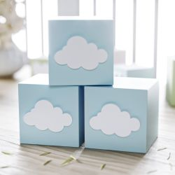 Cubo Decorativo Personalizado Nuvem MDF Azul