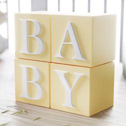 Cubo Decorativo Personalizado Letras do Alfabeto MDF Amarelo