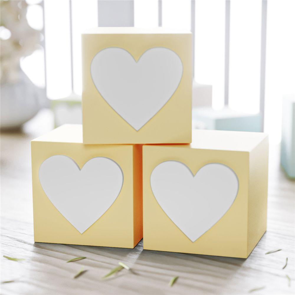 Cubo MDF Amarelo Personalizado Coração 6x6cm Grão de Gente
