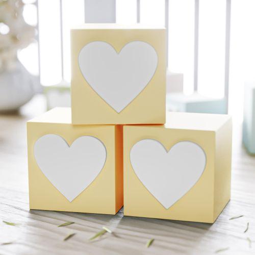 Cubo Decorativo Coração MDF Amarelo