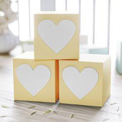 Cubo Decorativo Personalizado Coração MDF Amarelo