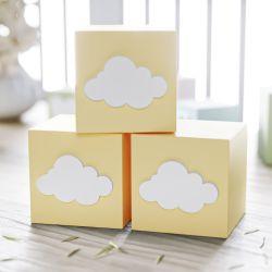 Cubo Decorativo Personalizado Nuvem MDF Amarelo