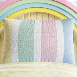 Capa de Travesseiro Infantil Tricot Listras Arco-íris