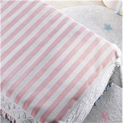 Manta Tricot Listrada Branco e Rosa 1,20m