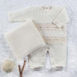Saída Maternidade Tricot Luxo Pérola e Renda Natural 02 peças