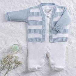 Saída Maternidade Tricot Casaquinho Listrado Branco e Azul 02 Peças