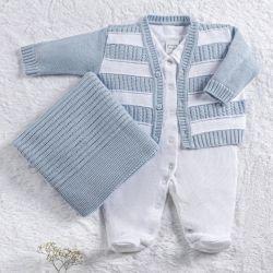 Saída Maternidade Tricot Cardigan Listrado Branco e Azul 03 Peças